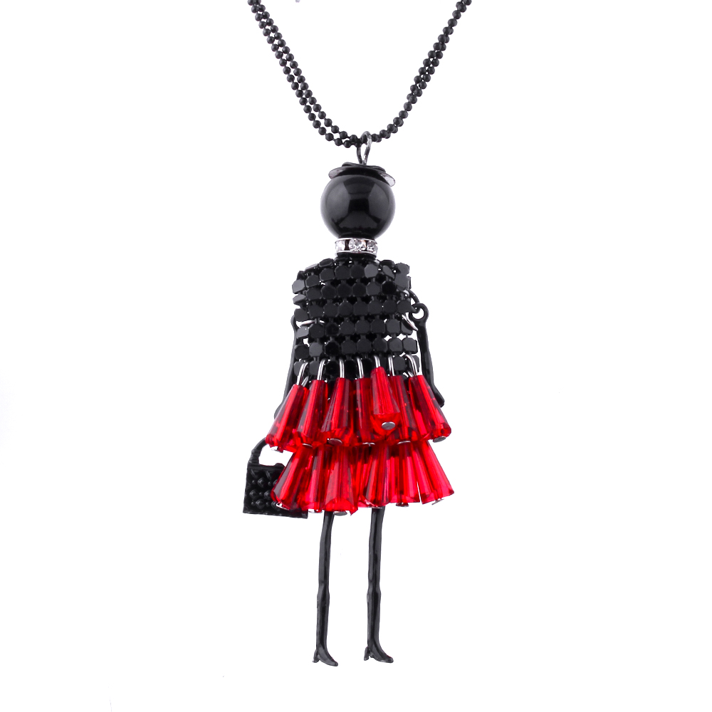 Colors Fine Jewelry Fashion Lady Doll Beads Charms Body Chain Choker Long