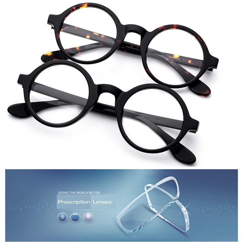 Acetate Brand 46mm Small Round Glasses Men Women Optical Prescription computer spectacles Diopter/minus 1.56/1.61/1.67 Index