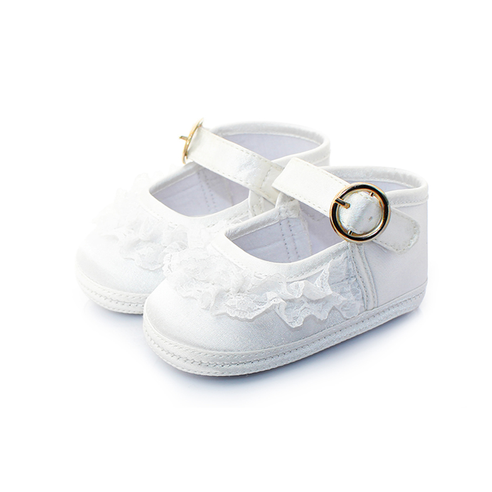 Delebao Pure White Christening Baptism Lace Metal Buckle Baby Girl Shoes + Baptism Socks For 0-12 Months Wholesale