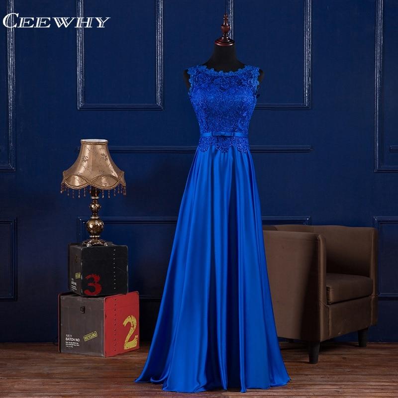 CEEWHY Royal Blue Evening Dress Appliques Formal Dress Women Elegant Saudi Arabia Evening Gowns Abendkleider Vestidos