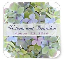 1 5inch Pastel Hydrangeas Square Wedding Favor Label Square Sticker