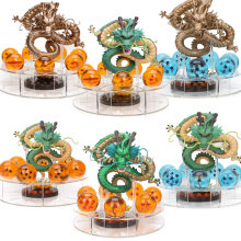 7PCS 3.5cm Crystal Dragonballs and 1pc Acrylic Shelf and 15cm Shenron Shenlong Dragon Ball Z Action Figures with Dragon Ball Set(China)