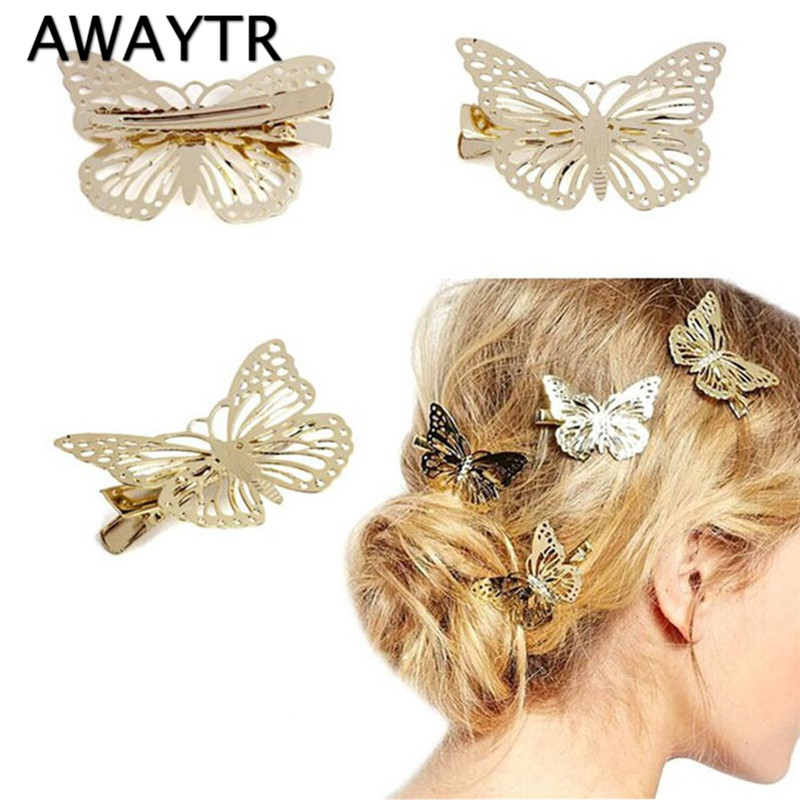 Hair Pins for Women 2 Pieces/Lot Lovely Butterfly Head Jewelry For Girls Fashion Clip Hair Barrettes Accessories Headdress