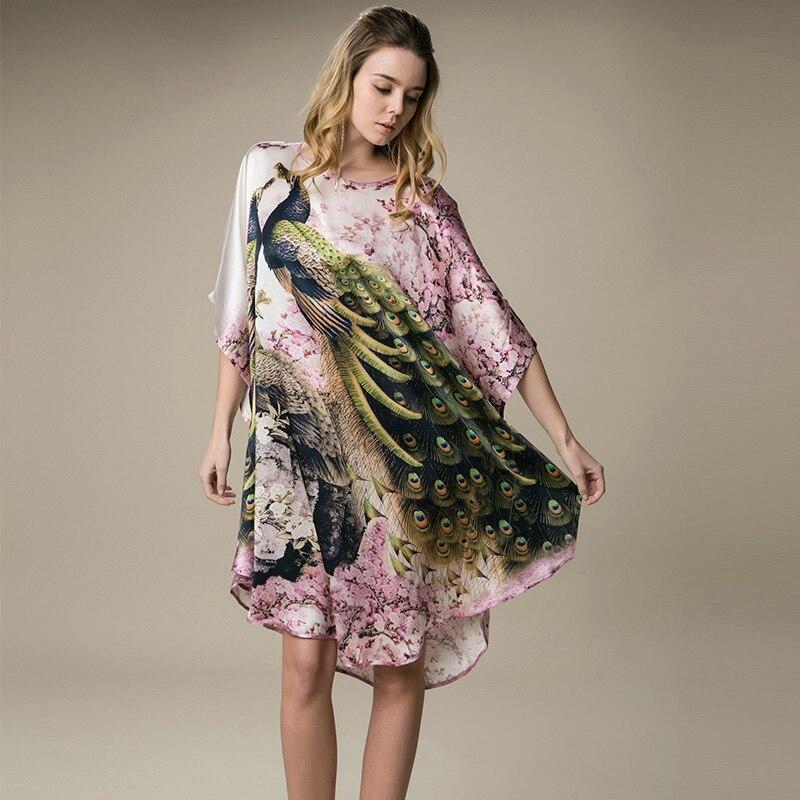 Femme 100% Mulberry soie Robe de bain Robe d'été salon Looose vêtements de nuit élégante chemise de nuit femmes Sexy chemise de nuit une taille YBP094