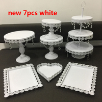 10 sets 7pcs gold /white /silver cake wedding tray fashion cake stand plate