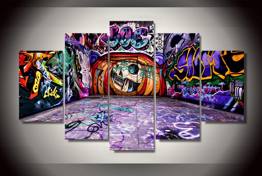 HD Printed Graffiti street 5 piece picture painting wall art Canvas ...