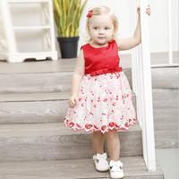 Rojo verano la ropa del bebé del tutú de la flor del cordón niña vestido niña flor vestido de boda princesa vestido tutu