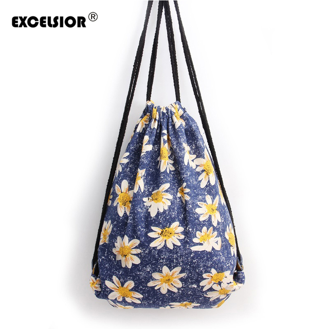47dbeff1d3 EXCELSIOR 2018 Fashion Women s National Flower Printed Drawstring Backpack  Portable Canvas School Bags Girls String Bag
