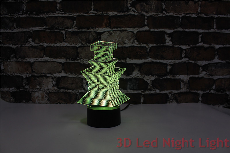 Best Seller Living Room Ornament 3D Led Night Light Lamp with CE and UL Certificate Asian Fort Shape YJ 2894