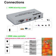 4K HDMI Scaler HDMI UP Down converter Scaler 4K 1080P 720P with video wall controller processor functions&RS232 control high quality hdmi video wall controller 2x2 processor splitter hdmi