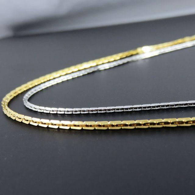00b7ec93c25b 2mm 24 pulgadas oro color acero inoxidable Boston cadena collar ...