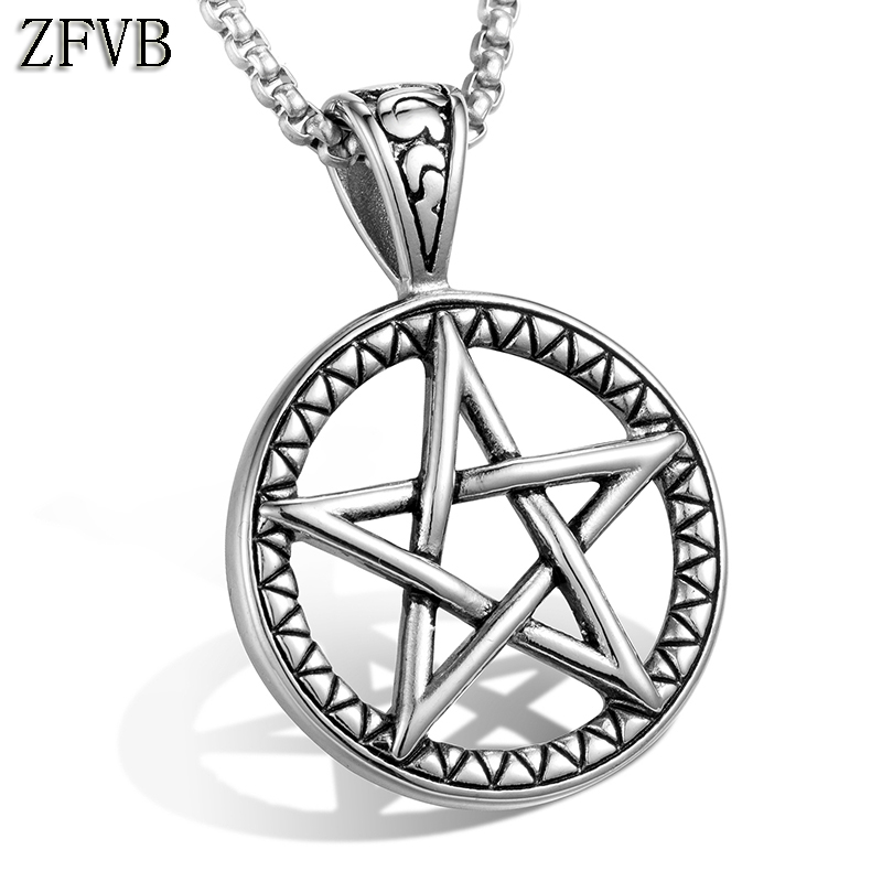 f2a3a13cb85 ZFVB Vintage Mens Pentagram Stars Pendant & Necklace 316L Stainless Steel  Casting Classic Pentagram Necklaces Jewelry Gift N082