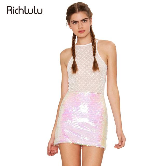 RichLuLu Sexy Cintura Alta Falda Del Lápiz de Las Mujeres Rosa Claro Lindo lentejuelas Mini Falda Delgada Calle Punk Estilo Básico Casual OL falda