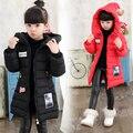Inverno criança do sexo feminino amassado crianças jaqueta da menina do algodão-acolchoado casaco espessamento para baixo outerwear criança de médio-longo térmico