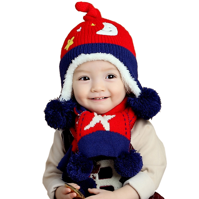 2016 Baby Autumn/Winter New Cartoon Stars Moon Pattern Thickening Warm Baby Cotton Thread Boy Girl Knitting Wool Hat (Hat+scarf)