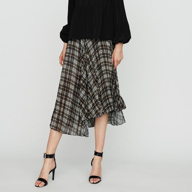 9fc1e76909 Office Women Check Skirt Designer Pleated Skirts 2018-in Skirts from ...