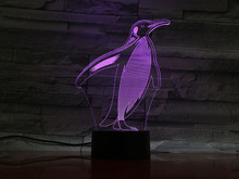 Animal penguin Led Night Light Touch Sensor 7 Color Changing room Decorative Lamp Child Kids Baby Kit Nightlight 3D