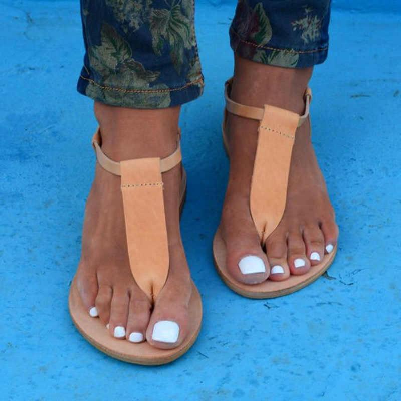 Kadın Ayakkabı 2019 Gladyatör Sandalet Kadınlar Bohemia Rahat T-Kayışı Bayanlar Sandalet plaj ayakkabısı Flip Flop Sandales Femme