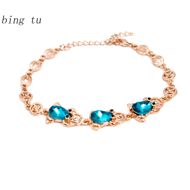 Bing Tu Blue Crystal Bracelets For Women pulseras Wedding Party
