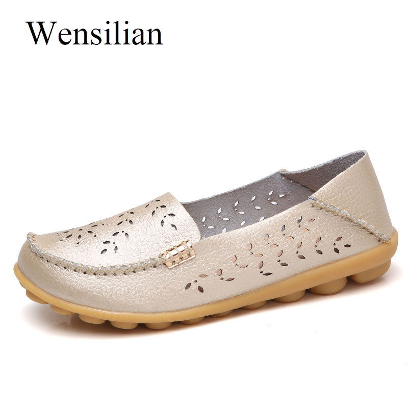 Summer Ballet Flats Women Moccasins Folding Genuine Leather Shoes Slip On Loafers Casual Shoes Female Flower Sapato Feminino genuine leather women ballet flats summer loafers moccasins woman slip on folding antiskid casual shoes ballerina size 34 44