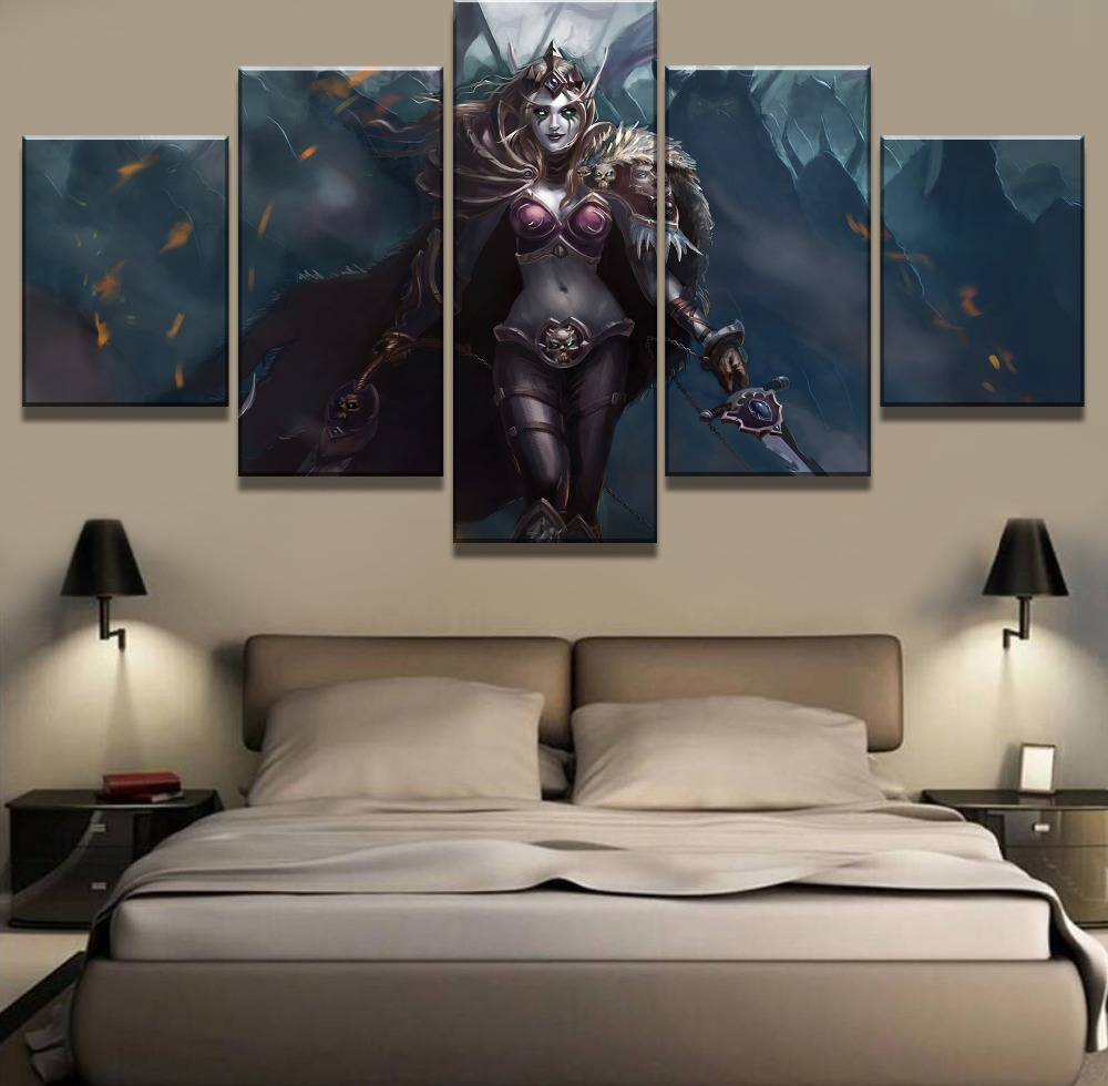 Hot-Sell-5-Piece-HD-Print-Warcraft-Sylvanas-Game-Modern-Decorative-Paintings-on-Canvas-Wall-Art