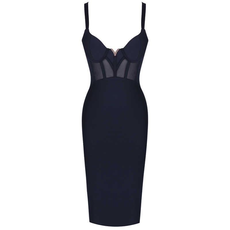 Ocstrade קיץ סקסי ריון תחבושת שמלת 2019 חדש עזיבות Mesh הכנס נשים תחבושת שמלה שחור מסיבת לילה מועדון Bodycon שמלה