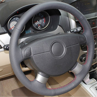 leather hand Top Leather Steering Wheel Hand-stitch on Wrap Cover For Chevrolet Lova Aveo Buick Excelle Daewoo Gentra 2013-2015 Lacetti 06-12 (3)