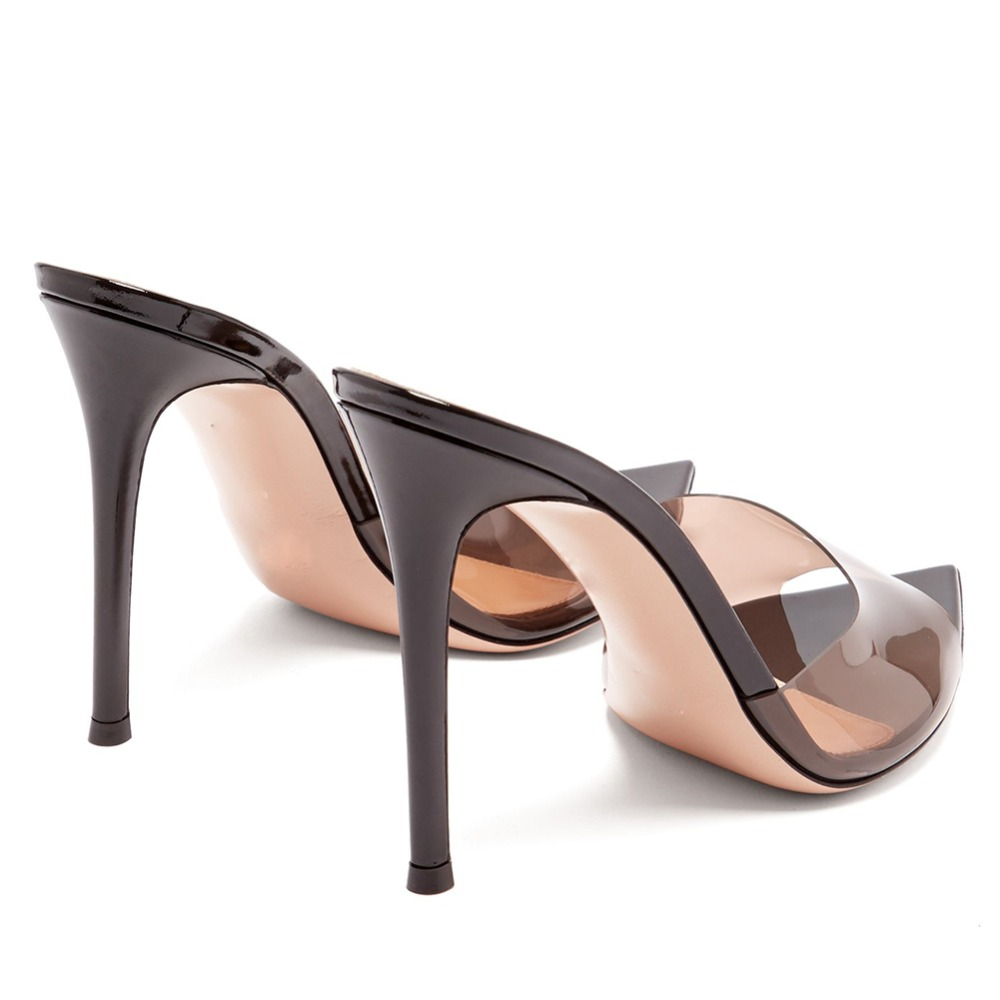 Moda sexy senhoras de salto alto apontou dedo do pé aberto deslizamento na festa stiletto salto alto claro mula slides mulher nu pvc sapatos transparentes - 3