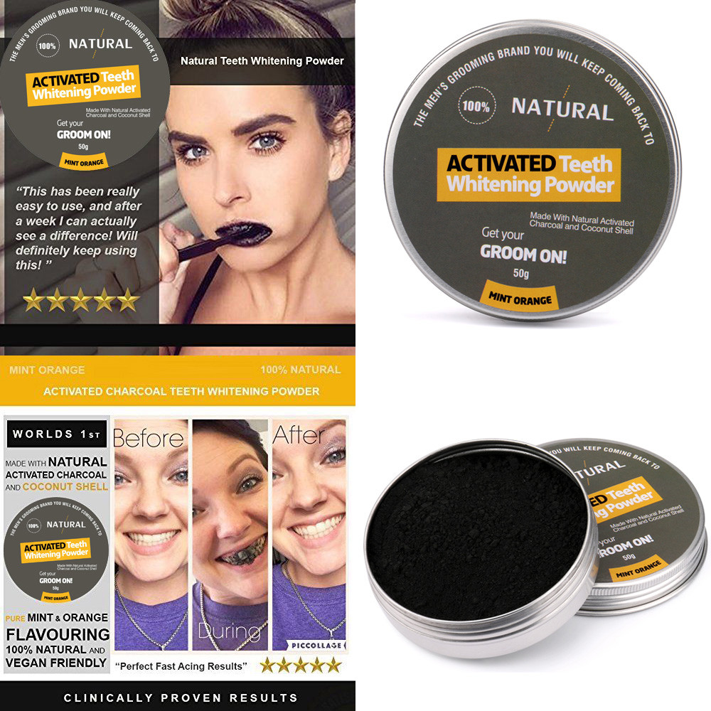 Teeth-Whitening-Powder Activated-Charcoal Packing Organic Tooth Mint-Cleaning Natural