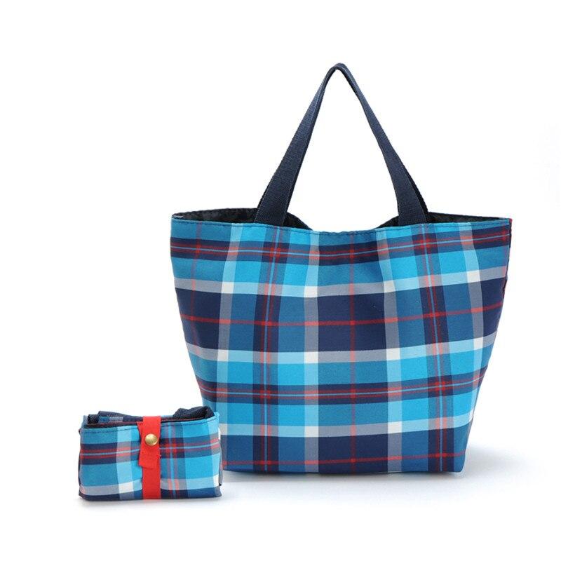 Free Shipping Oxford Blue Plaid Folding Portable Shopping Bags Women Shoulder Bags Handbags ZZ218