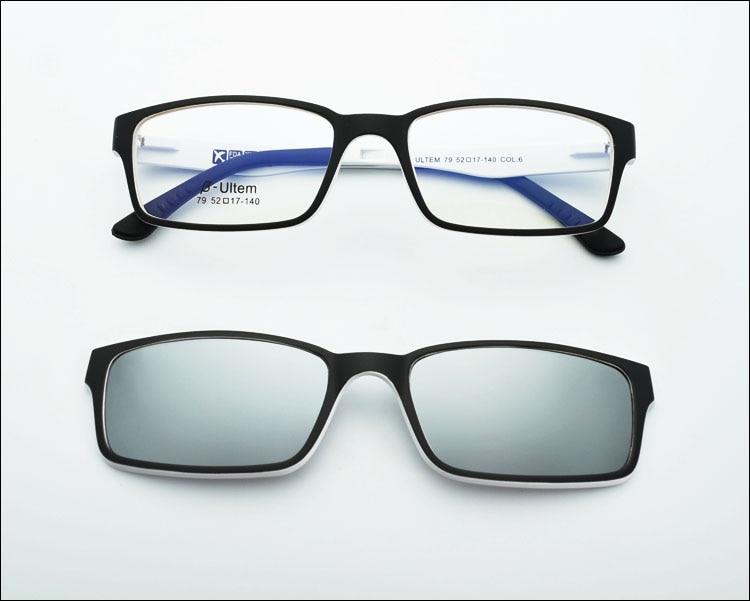 Ультра-светильник, вольфрам, титан, оправа для очков, 3D магнит, зажим, солнцезащитные очки, близорукость, функциональные очки, поляризационные, JKK 79 - Цвет оправы: Black white coating