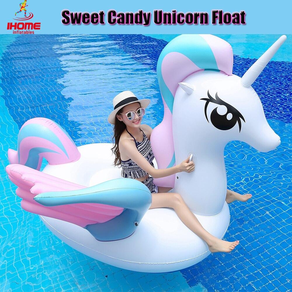 Offre spéciale bonbons doux licorne flotteur matelas d'eau gonflable 250x120 cm taille avec 0.3mm PVC lit d'été natation