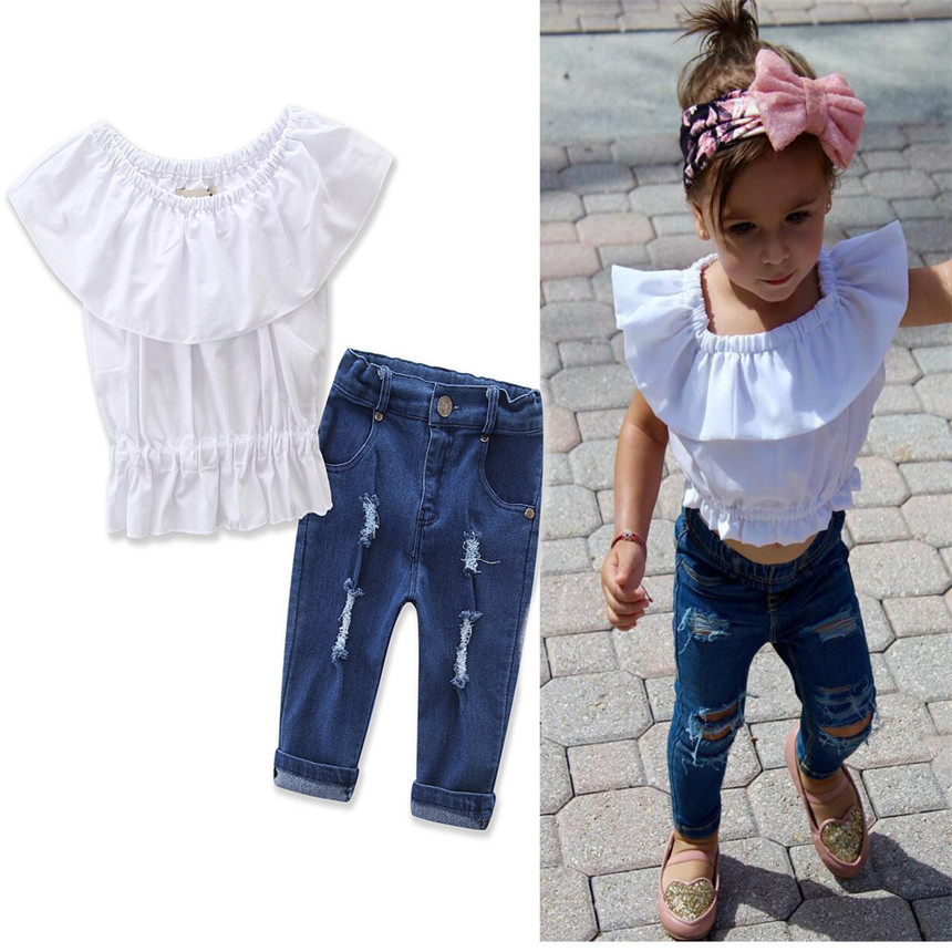 2018 Fashion Style Children Girls Clothing Sets Elastic waist Tops+Jeans 2pcs Summer Cotton Kids Girl Clothes Suit Girls Dress