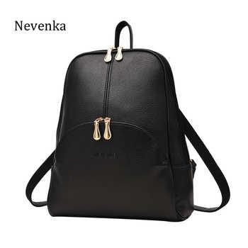 NEVENKA Frauen Rucksack Leder Rucksäcke Softback Taschen Marke Name Tasche Preppy Stil Tasche Casual Bag pack Jugendliche Rucksack Sac