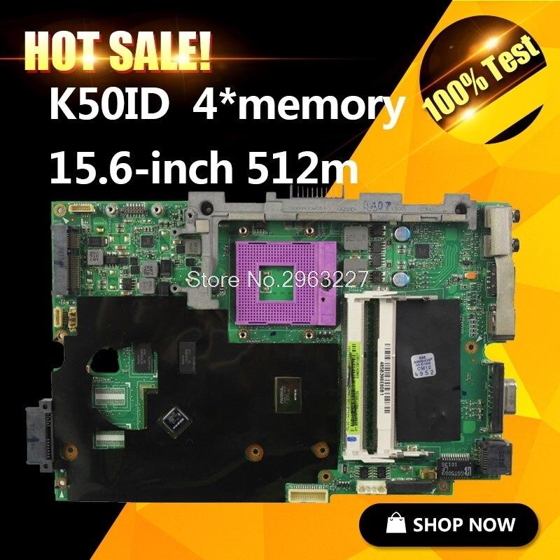 K50ID Motherboard 512M For ASUS K50I K50IE X5DI K50ID Laptop motherboard K50ID Mainboard K50IE K40ID Motherboard test 100% OK k50id 1gb 8 memory motherboard for asus x5di k50ie k50i k50id laptop mainboard rev 3 2 ddr3 100