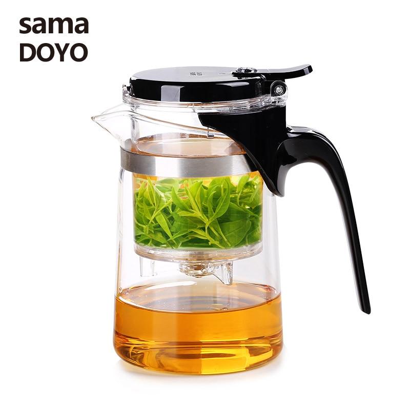 Samadoyo High Grade Gongfu Tea Set Glass Kungfu Teapot Press AUTO-OPEN Art tea Cup with Infuser SAG08 500ml Home Elegant Cups
