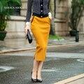 Fashion Spring Autumn Pencil Bust Skirt Female Elastic Waist Slim Hip Split Long knitting Skirt Women's