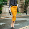 Moda Primavera Outono Busto Saia Lápis Fêmea Elástico Na Cintura Fina Quadril Dividir Longo de tricô Saia das Mulheres