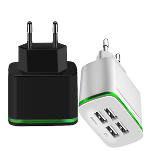 Image 2 - USB Charger for iPhone Samsung Android 5V 2A 4 Ports Mobile Phone Universal Fast Charge LED Light Wall Adapter usb wall charger