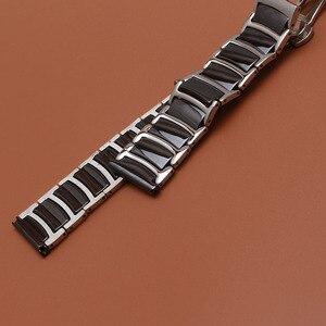 Image 2 - حار 20 مللي متر 22 مللي متر الفولاذ المقاوم للصدأ مع السيراميك الأسود الذكية حزام (استيك) ساعة حزام ل والعتاد S2 S3 ووتش الاكسسوارات الكلاسيكية الأسود تعزيز