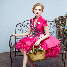 hot pink flower embroidery ruffled short ball gown p/short lolita dress