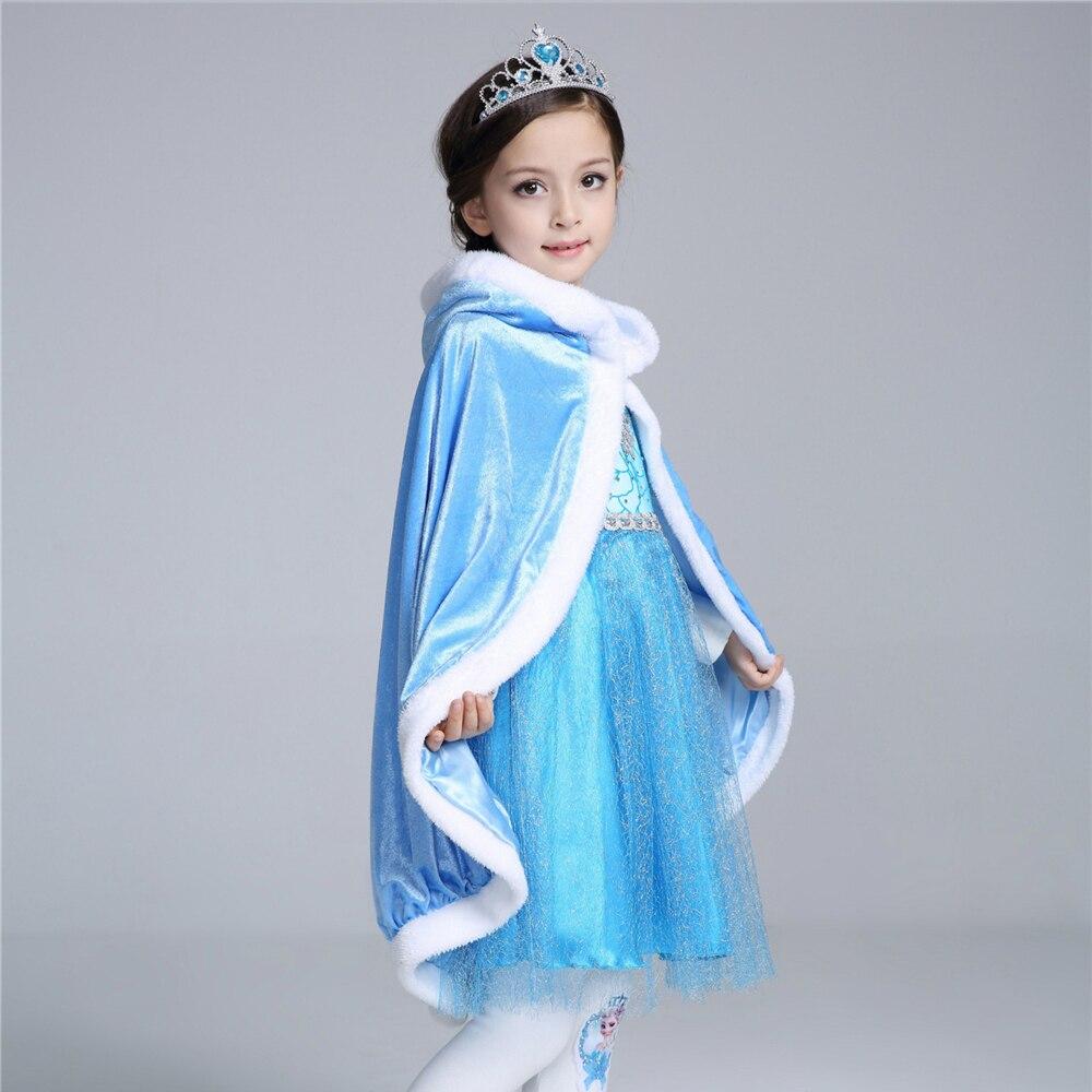 Қыс 2017 Қыздар Elsa Cloak Қыздар Плюс Velvet - Балалар киімі - фото 6