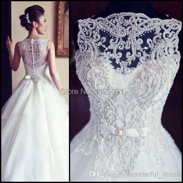 2015 Sexy New Sleeveless A Line Tullle Wedding Dresses Applique Beaded Court Train Bridal Gowns With Buttons Back Custom Made