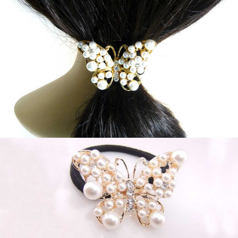 Women Imitation Pearls Butterfly Hair Rope Charm Crystal Rubber Headband Ponytail Gum Elastic Hair Bands Hair Accessories