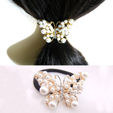 Hot Women Lovely Imitation Pearls Butterfly Hair Rope Crystal Band Elastic Headband Gift