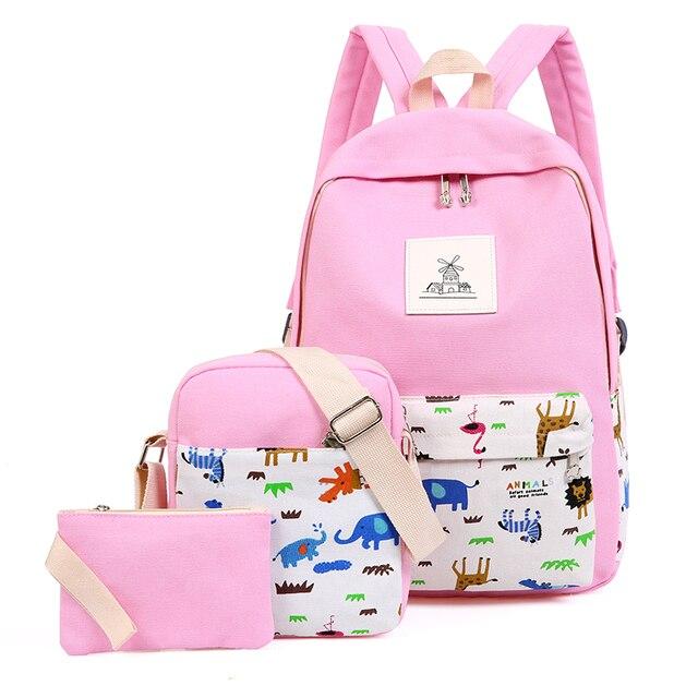 52158310c9 Canvas Backpack 3 Pcs set Women School Backpacks Schoolbag For Teenagers  Man Student Book Bag Girls Boys Satchel Cartoon Animals