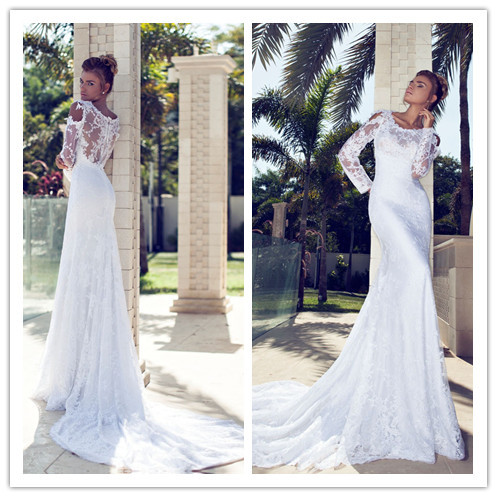 Lace slim long white mermaid brand wedding dresses 2014 for Long sleeve slim wedding dresses