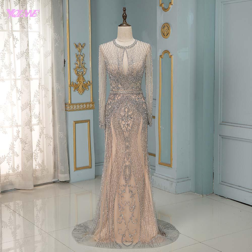 Robe De Soiree 2019 Luxury Silver Rhinestones Full Sleeve   Evening     Dresses   Long Nude Formal   Evening   Gown