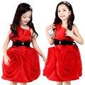 Red Flower Girl Dresses For Weddings Kids Dresses For Girls Evening Party Dress Princess Dress Girl Cute Braces Bow Skirt