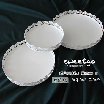 Cake display tray 8''/10''/12''round cake stand white iron dessert platter Home baking &pastry decoration supplier cake tools